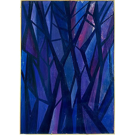 "Vintage Oil Painting Titled ""Abstract Indigo Trees"" by Nikolay Nickov"