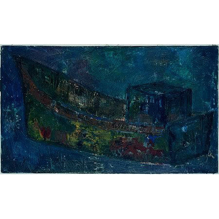 Vintage Oil Painting of a Tug Boat by Nikolay Nickov