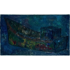 Vintage Impressionist Oil Painting of a Tug Boat by Nikolay Nikov
