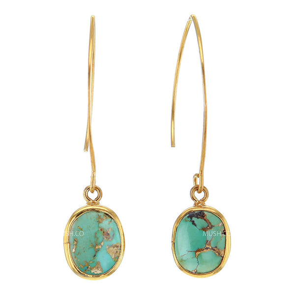 Oval Turquoise Earrings in 14K Gold Plated Sterling Silver