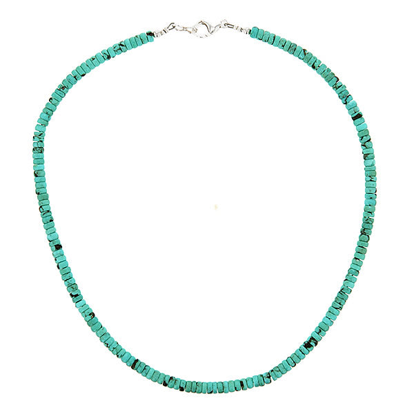 Turquoise Bead Necklace and Sterling Silver Clasp