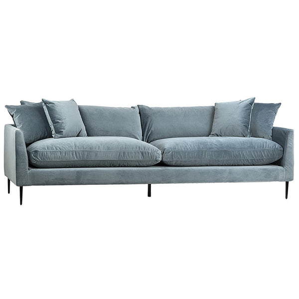 Stewart Green Gray Feather Filled Luxury Sofa in Organic Cotton Blend Upholstary