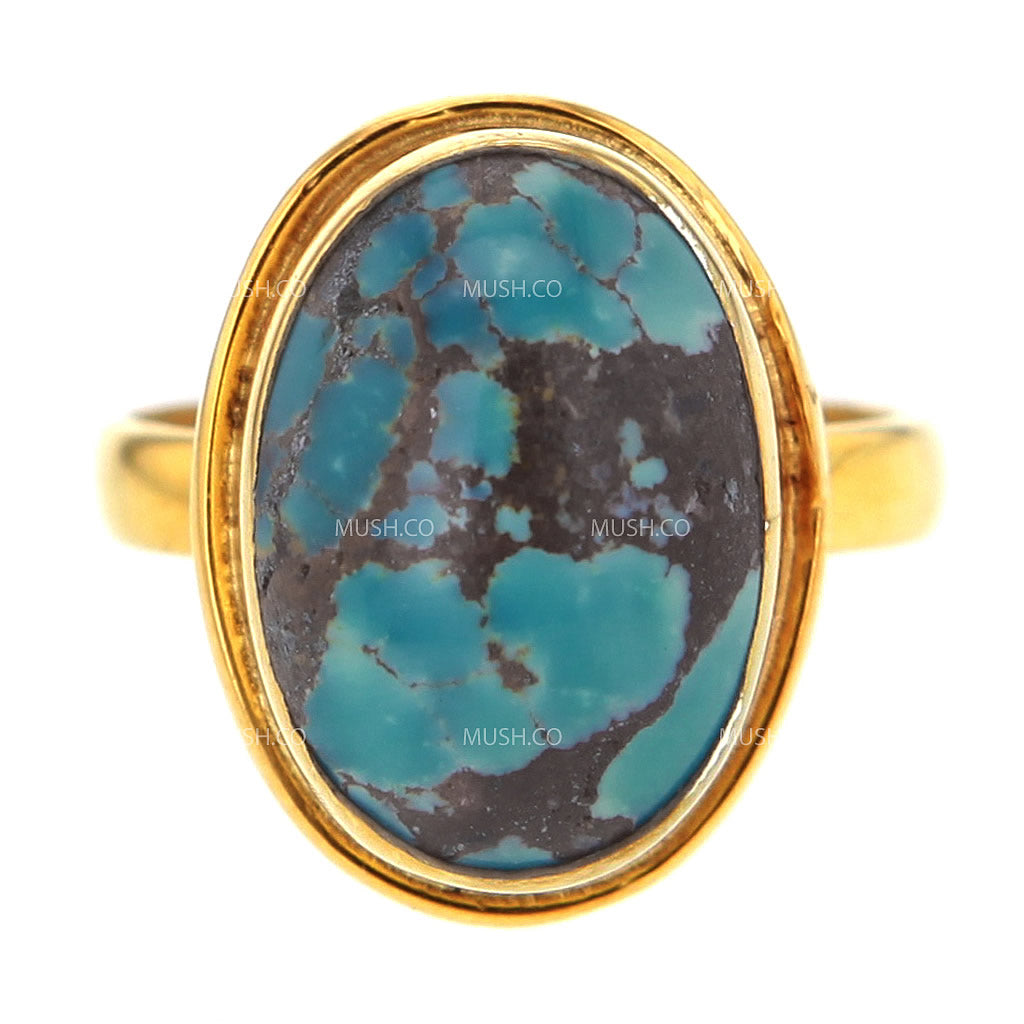 14K Gold Plated Sterling Silver Ring with Oval Turquoise Size 7.5