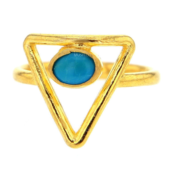 14K Gold Plated Sterling Silver Insignia Ring with Round Turquoise Size 8
