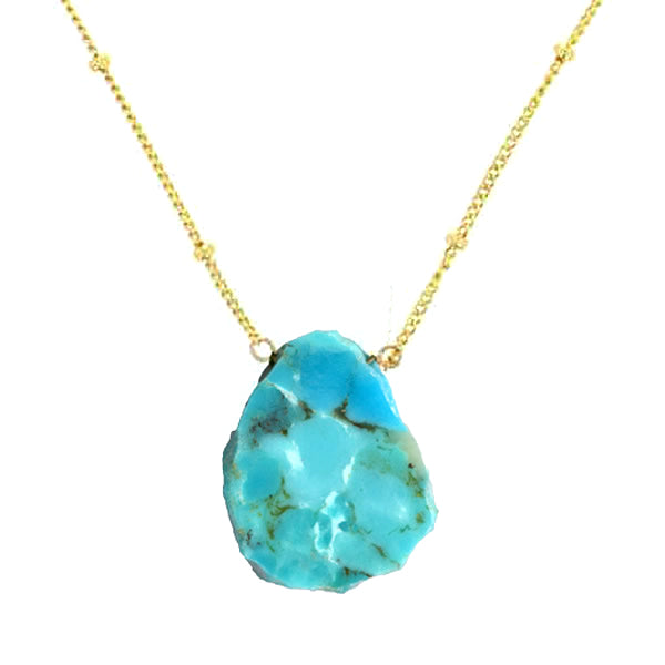 Turquoise Slab Necklace on 14 Karat Gold Filled Chain