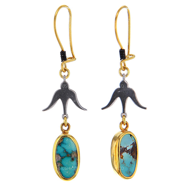 Birdman Rhodium & 14K Gold Plated Turquoise Earrings with Bird Element