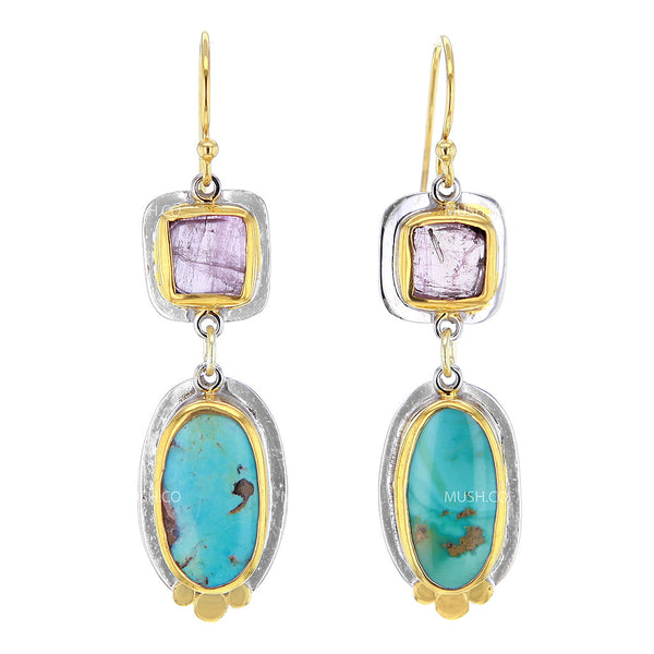 2 Tier Pink Tourmaline and Royston Turquoise Earrings in 14K Gold Plated Sterling Silver