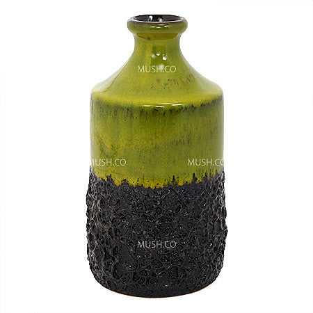 Mid-century Modern Chartreuse and Black Lava Glaze Vase Made in West Germany by Jopeko