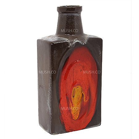 Mid-century Modern Square Vase made in West Germany by Kreutz in Brown with Abstract Red and Yellow Relief Design