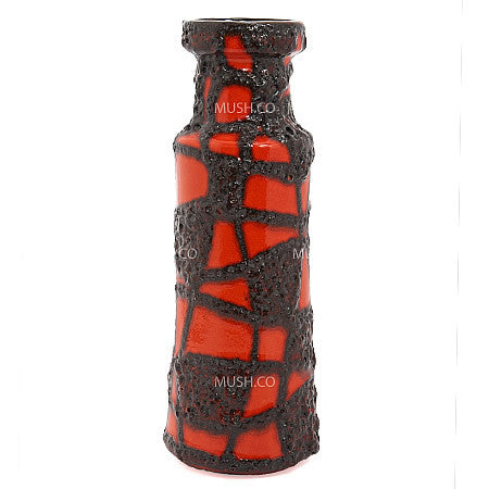Mid-Century Modern Black and Red Lava Glaze Vintage Vase with Spiderweb Pattern made in West Germany by Scheurich