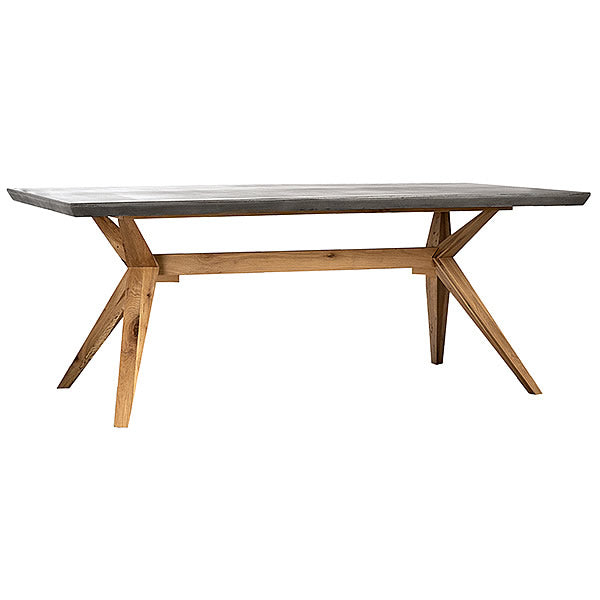 "Large 79"" Lightweight Concrete Top Dining Table with Oak Wood Base Hollywood"