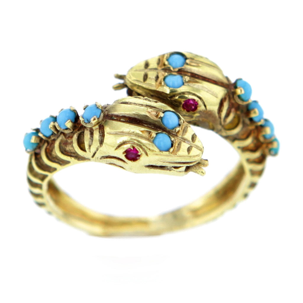 Vintage 1930s 22K Gold Snake Ring with Turquoise and Rubies Size 8
