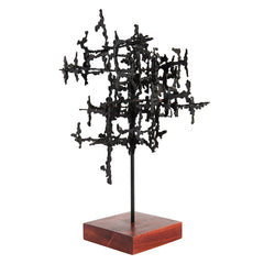 1960s Vintage Brutalist Abstract Metal Sculpture Unsigned Daniel Gluck
