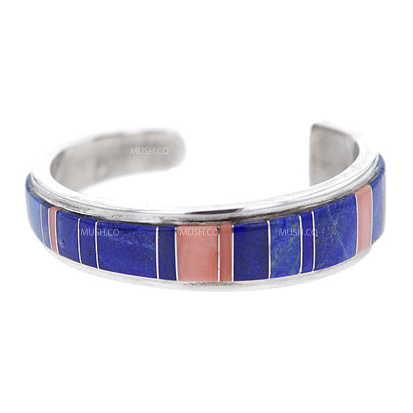 Sterling Silver Navajo Cuff Bracelet with Inlaid Graduated Lapis and Coral