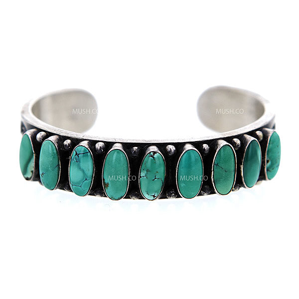 Sterling Silver Navajo Cuff Bracelet with Inlaid Carico Lake Turquoise by A Cadman