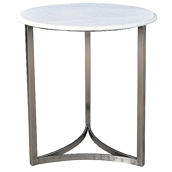 Cherie White Marble Top And Metal Mid Century Modern Side Table