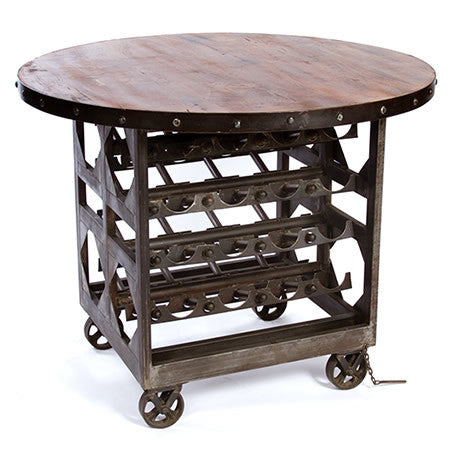 Round Insustrial Bar Table with Built-in Winerack and Reclaimed Wood top in Gunmetal Finish