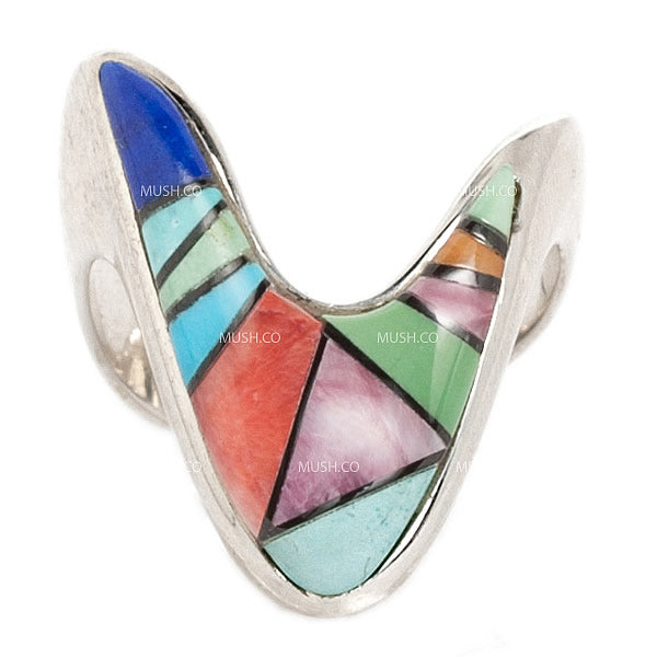 V Shaped Zuni Sterling Silver Ring Created by Calving Begay