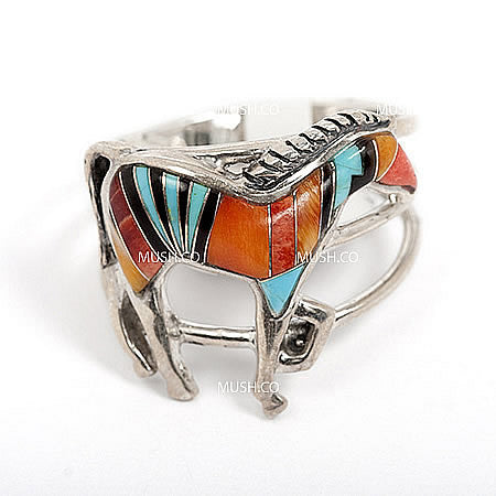 Sterling Silver Zuni Horse Ring in Turquoise and Red Tone Coral