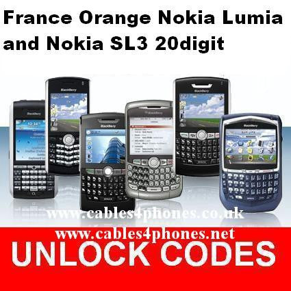 France Orange/EE/T-Mobile Nokia Lumia & SL3 20 digit Code