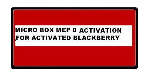 Micro Unlock Box MEP 0 Activation For Activated Blackberry