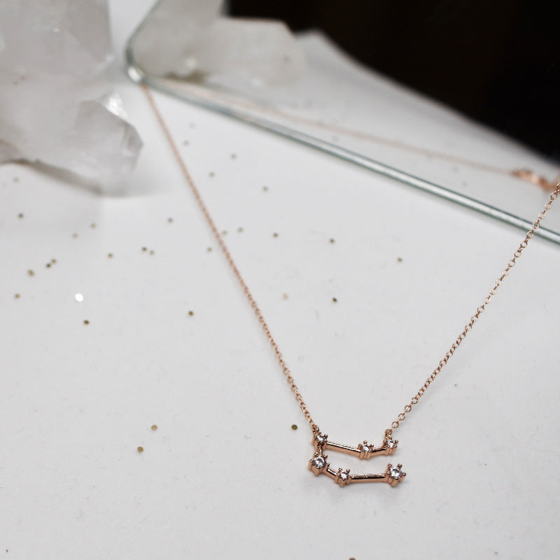 Hailey Jane rose gold necklace with Gemini constellation charm.
