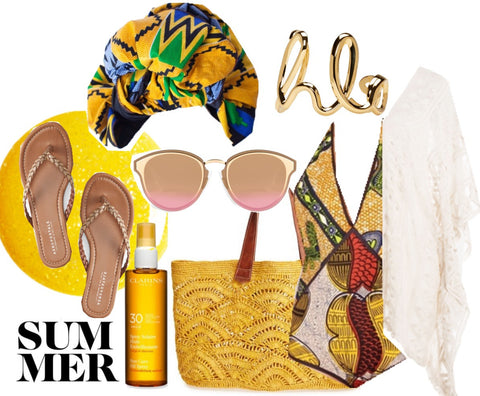 african print silk-lined head wrap swim suit style board