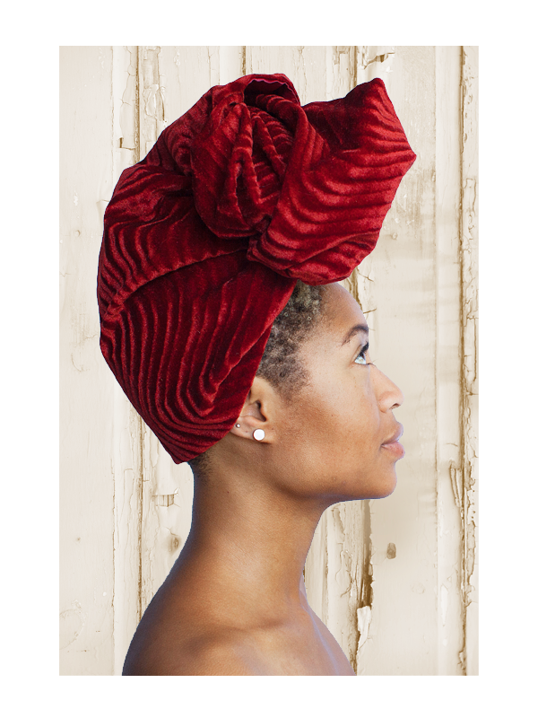 Velvet Burgundy Silk-Lined Head Wrap
