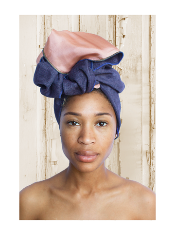 Two Tone Solid Navy Peach Silk-lined Head Wrap