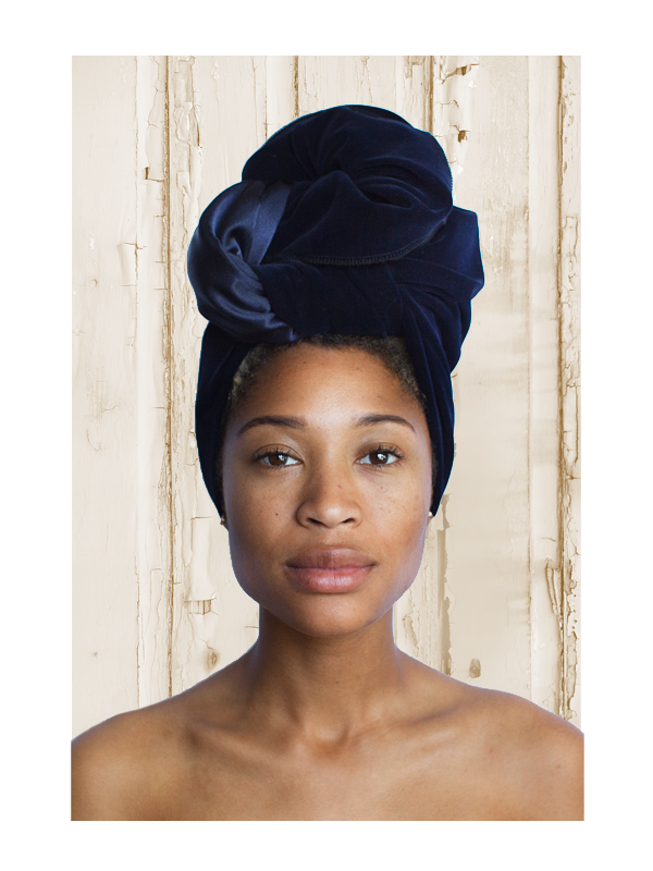 Velvet Navy Satin-lined Head Wrap