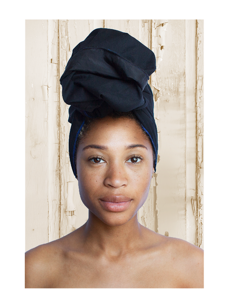 Solid Black Silk-Lined Head Wrap