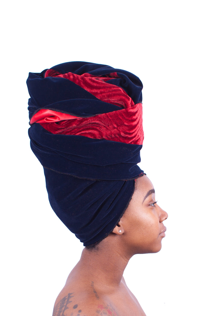 Midnight Ruby Velvet Satin-lined Head Wrap - Two Tone