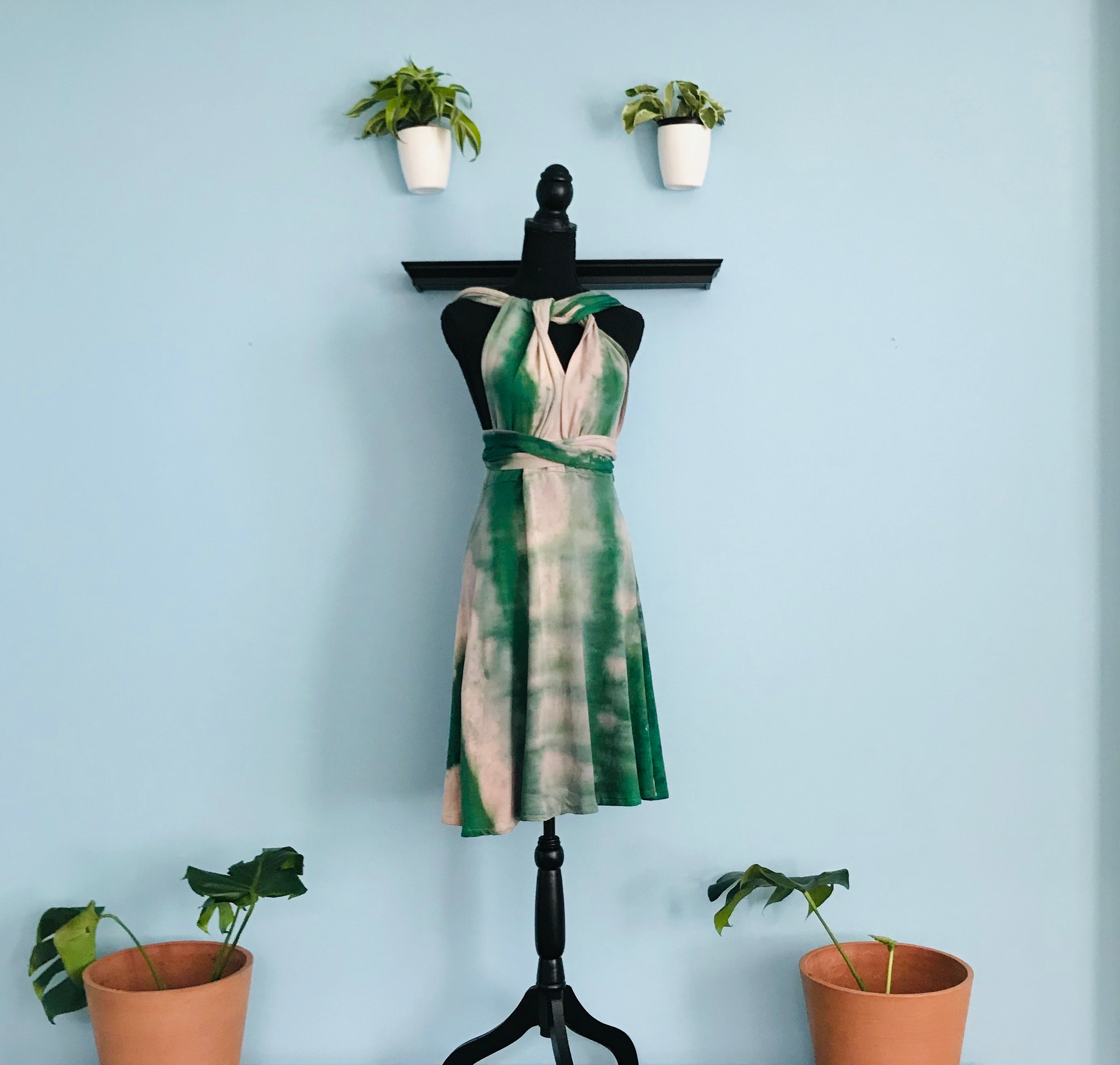 Tie Dye Guinep Green Convertible Infinity Dress