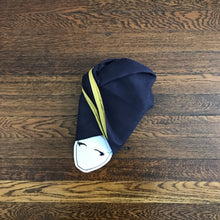 Load image into Gallery viewer, Two Tone Navy and Gold Silk-lined Head Wrap