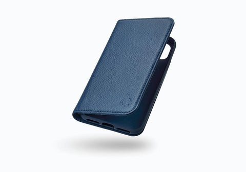 iPhone Xs & X Leather Wallet Case in Navy