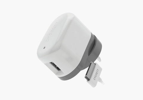 USB Wall Charger with Integrated 30-Pin Cable in White