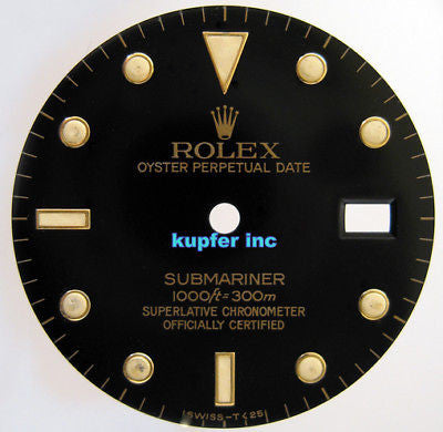Rolex Mens Submariner Dial - Black and Gold - Kupfer Jewelry