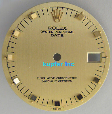 Rolex Ladies Date Dial - Champagne with Gold Brick Markers - Kupfer Jewelry