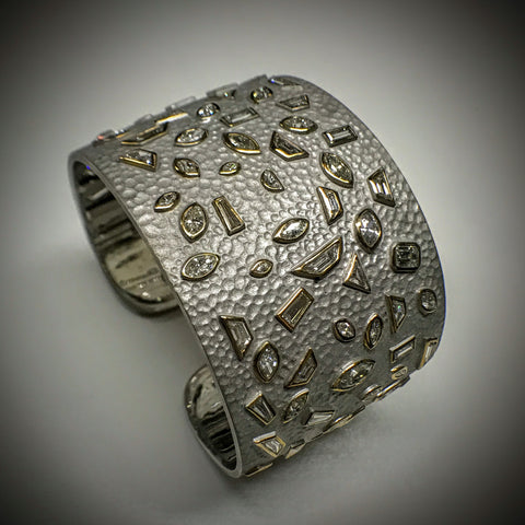 """Diamond Emily"" 18kwg Solid wide love-cuff Bracelet by Kupfer Design"