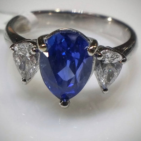 Kupfer Jewelry Kupfer Jewelry Design Natural Sapphire and Diamond White Gold Ring - Kupfer Jewelry - 1