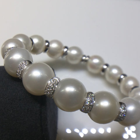 Verdi Bracelet with South Sea White Pearls & Diamonds - Kupfer Jewelry - 1