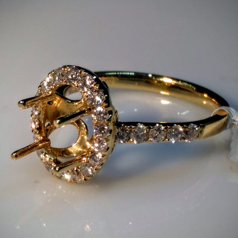 "EmilyK. ""Halo"" Engagement Ring in 18kt Yellow Gold by EmilyK.  (Mounting Only) - Kupfer Jewelry - 1"