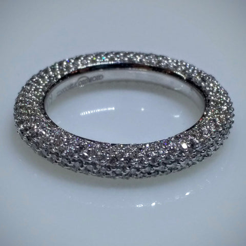 Giorgio Visconti Giorgio Visconti Micro Pave White Gold Wedding Band - Kupfer Jewelry - 1