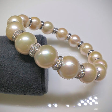 Verdi Bracelet with South Sea Pink Pearls & Diamonds - Kupfer Jewelry - 1