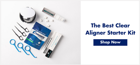 Advertisement for a clear aligner starter kit featuring a picture of various Invisalign accessories.