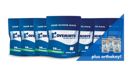 Movemints on the go pack features seven bags of clear aligner mints and three OrthoKey aligner removal tools