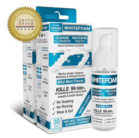 EverSmile WhiteFoam cleans and whitens your trays and your teeth while you wear your invisible braces!
