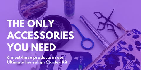 A flat shot of the Invisalign accessories offered in our favorite starter kit.