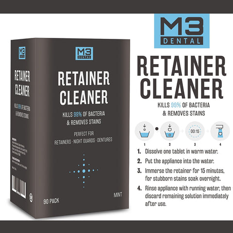 Instructions for using M3 Dental Retainer Cleaner from Amazon shop page