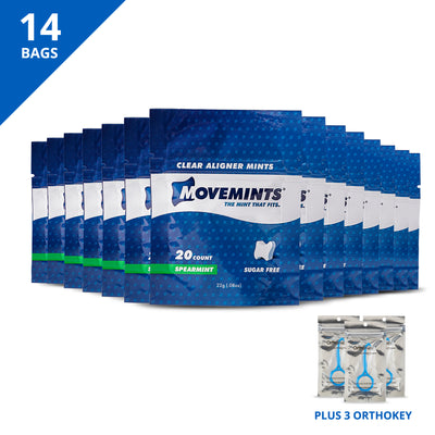 Deluxe Smile Journey Pack | 14 Bags of Movemints and 3 OrthoKey - Movemints